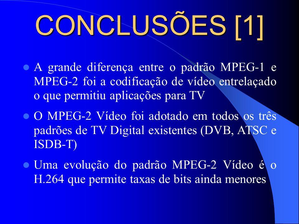 CONCLUSÕES [1] A grande diferença entre o padrão MPEG-1 e MPEG-2 foi a codificação de vídeo entrelaçado o que permitiu aplicações para TV.